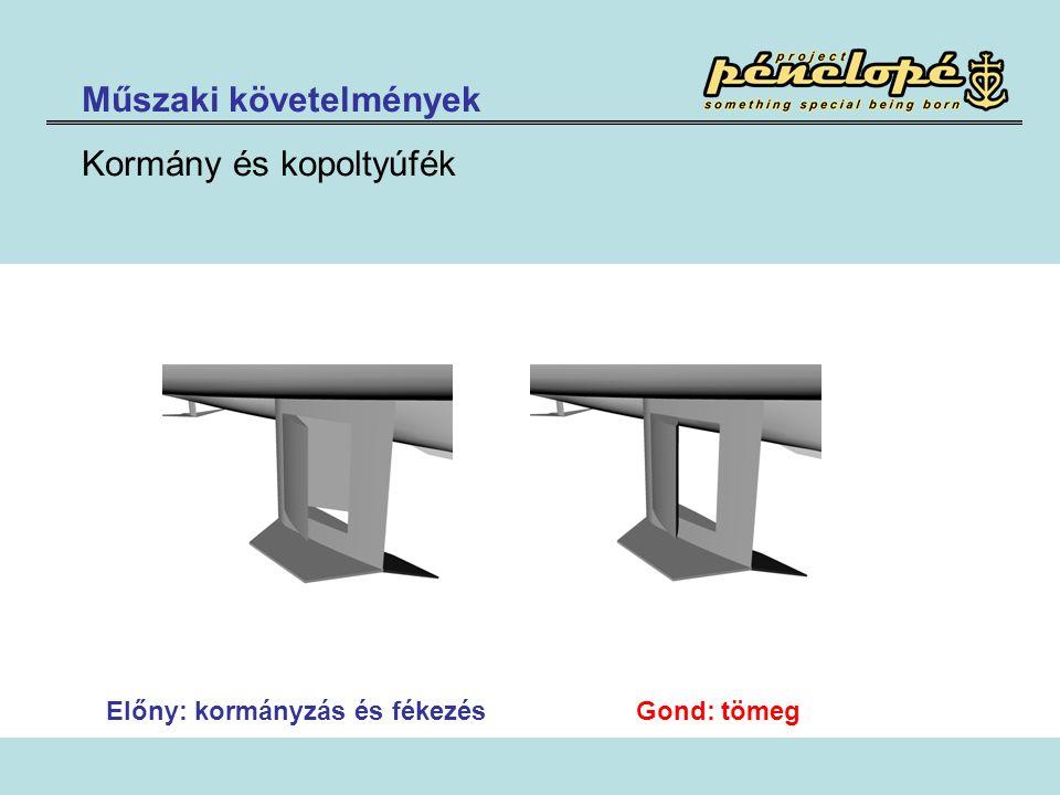 Műszaki követelmények Kormány és kopoltyúfék