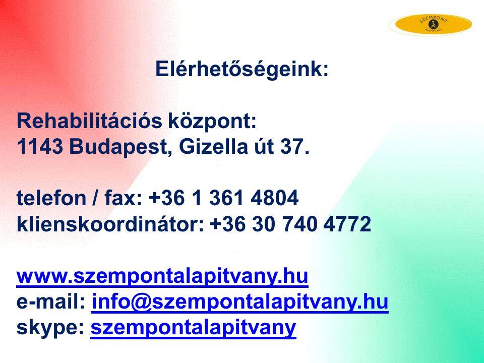 Elérhetőségeink: Rehabilitációs központ: 1143 Budapest, Gizella út 37. telefon / fax: +36 1 361 4804.