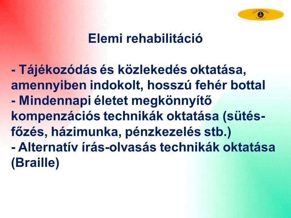 Elemi rehabilitáció - Tájékozódás és közlekedés oktatása, amennyiben indokolt, hosszú fehér bottal.
