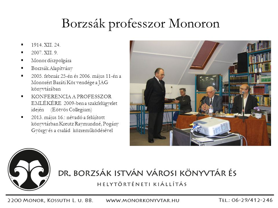 Borzsák professzor Monoron