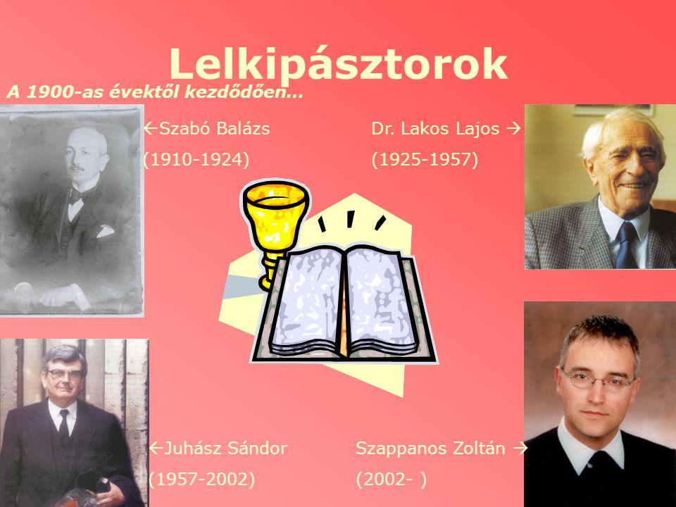 Lelkipásztorok A 1900-as évektől kezdődően… Szabó Balázs (1910-1924)