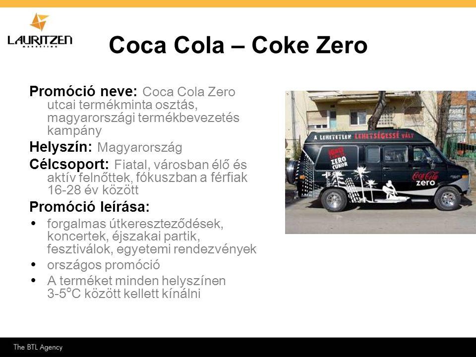 Coca Cola – Coke Zero Promóció neve: Coca Cola Zero utcai termékminta osztás, magyarországi termékbevezetés kampány.