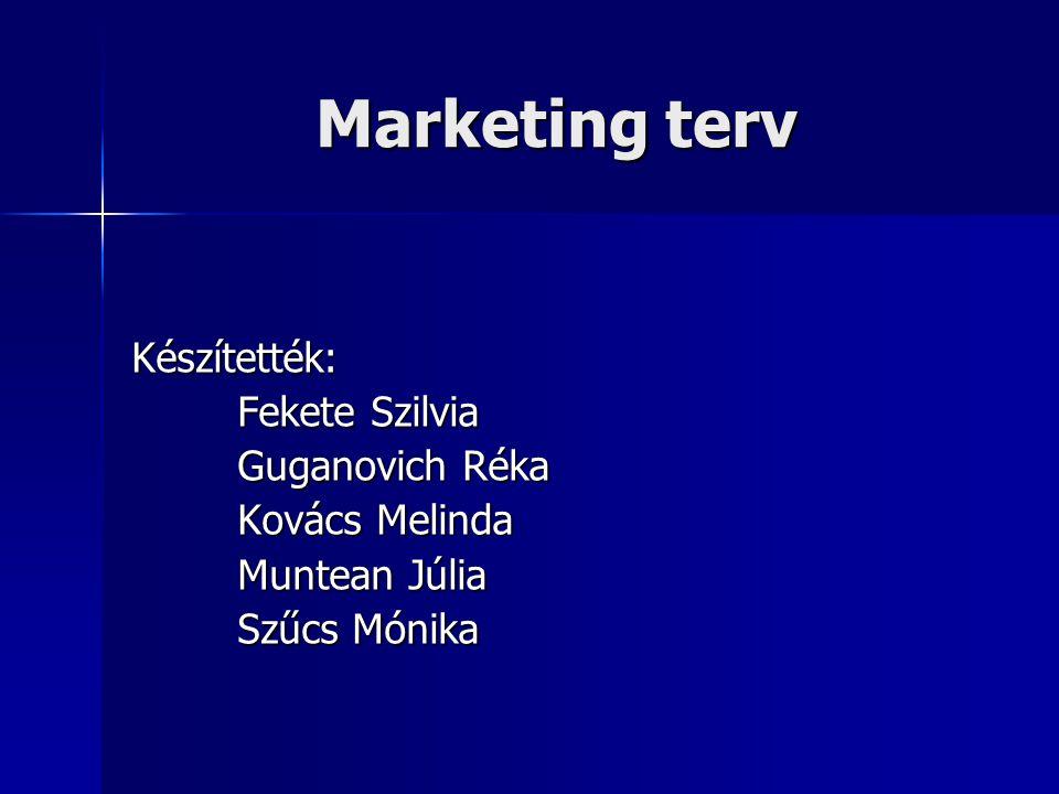 Marketing terv Készítették: Fekete Szilvia Guganovich Réka
