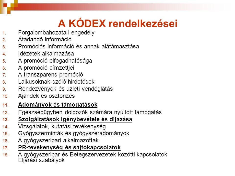 A KÓDEX rendelkezései Forgalombahozatali engedély Átadandó információ