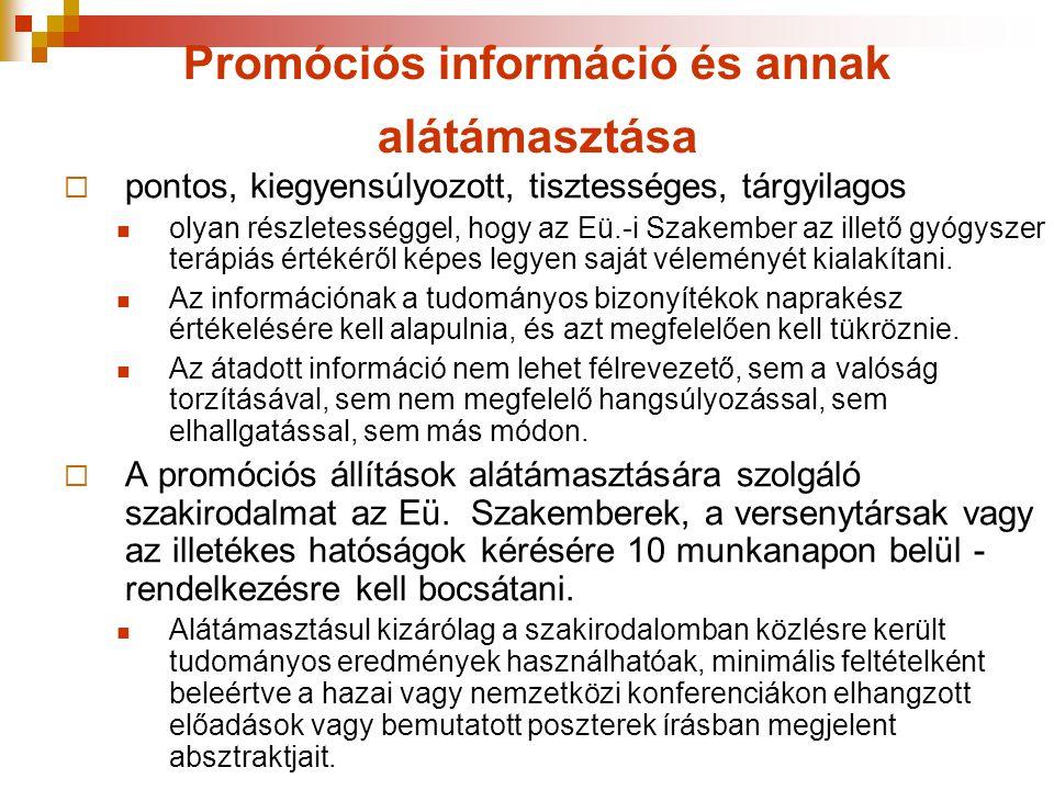 Promóciós információ és annak alátámasztása