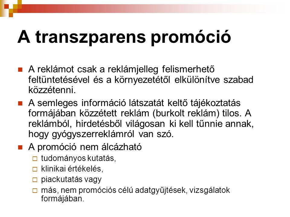 A transzparens promóció