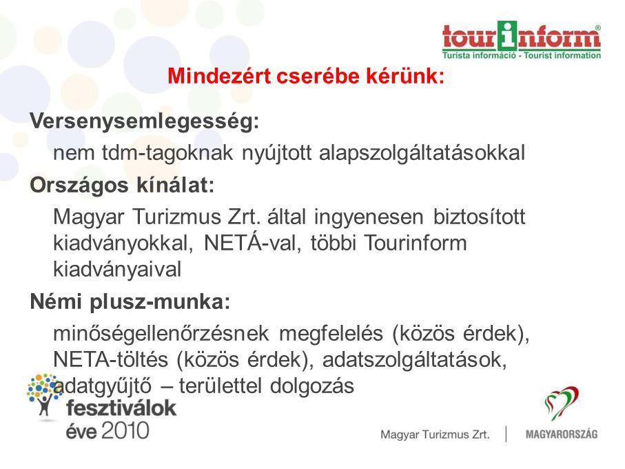 Mindezért cserébe kérünk: Versenysemlegesség: nem tdm-tagoknak nyújtott alapszolgáltatásokkal Országos kínálat: Magyar Turizmus Zrt.