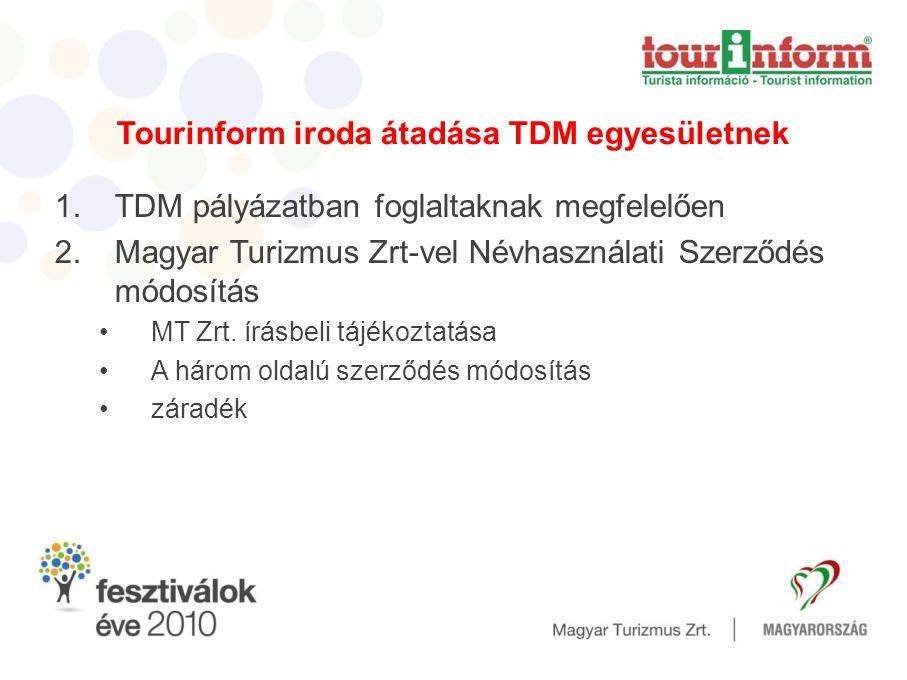 Tourinform iroda átadása TDM egyesületnek