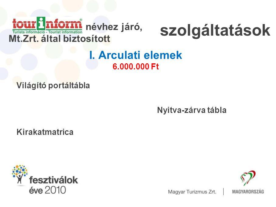 szolgáltatások I. Arculati elemek 6.000.000 Ft Világító portáltábla