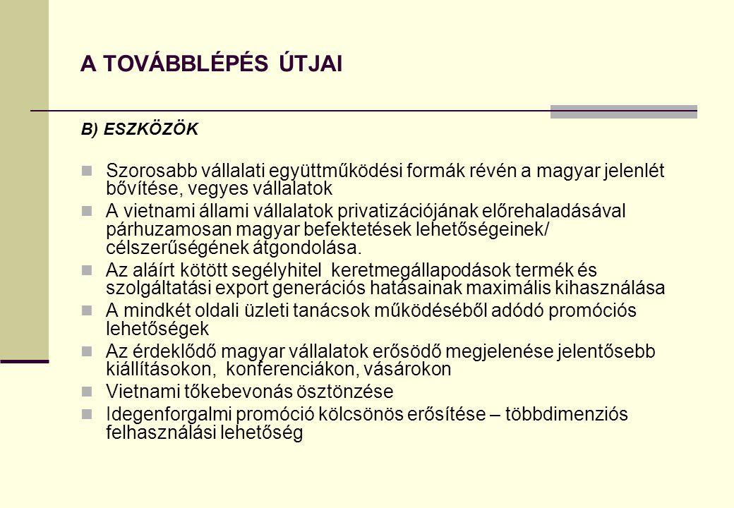 A TOVÁBBLÉPÉS ÚTJAI B) ESZKÖZÖK. Szorosabb vállalati együttműködési formák révén a magyar jelenlét bővítése, vegyes vállalatok.