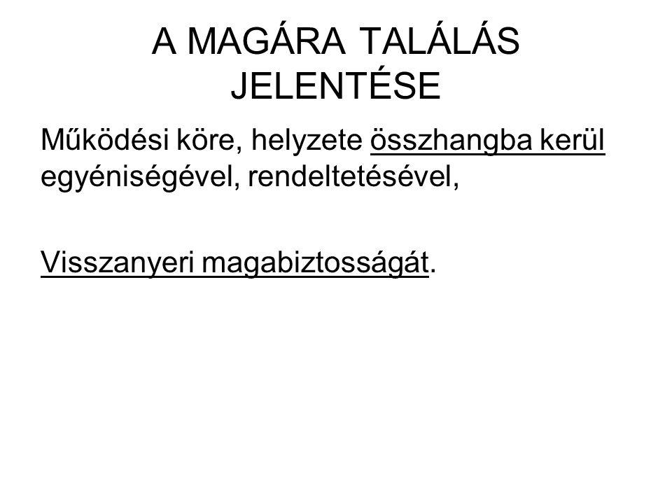 A MAGÁRA TALÁLÁS JELENTÉSE