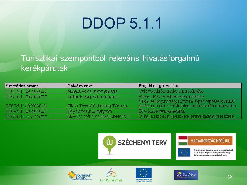 DDOP 5.1.1 Turisztikai szempontból releváns hivatásforgalmú kerékpárutak