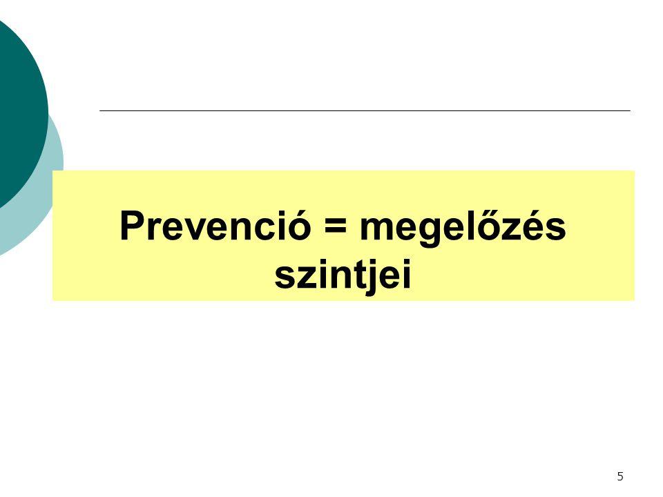 Prevenció = megelőzés szintjei