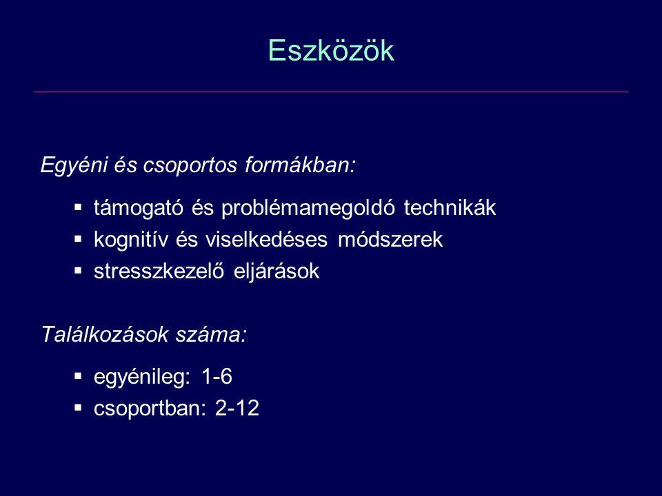 Eszközök Egyéni és csoportos formákban: