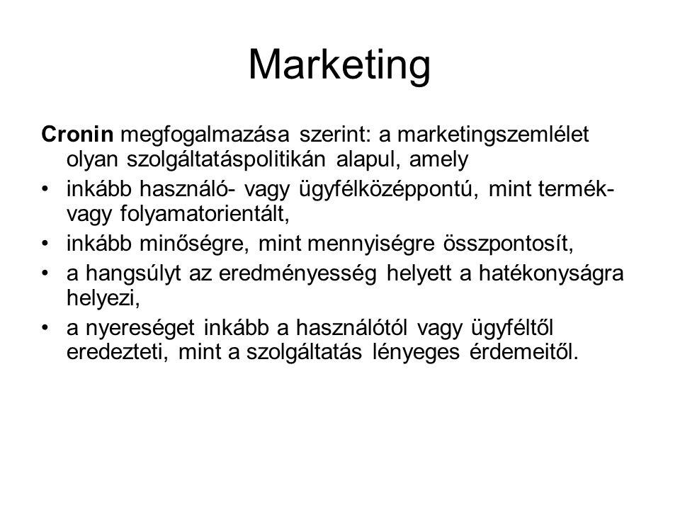 Marketing Cronin megfogalmazása szerint: a marketingszemlélet olyan szolgáltatáspolitikán alapul, amely.