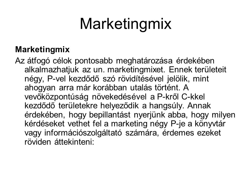 Marketingmix Marketingmix