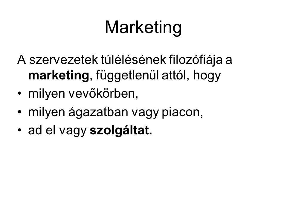 Marketing A szervezetek túlélésének filozófiája a marketing, függetlenül attól, hogy. milyen vevőkörben,