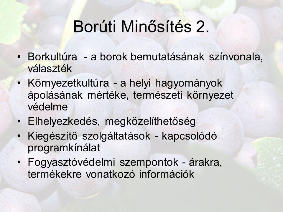 Borúti Minősítés 2. Borkultúra - a borok bemutatásának színvonala, választék.
