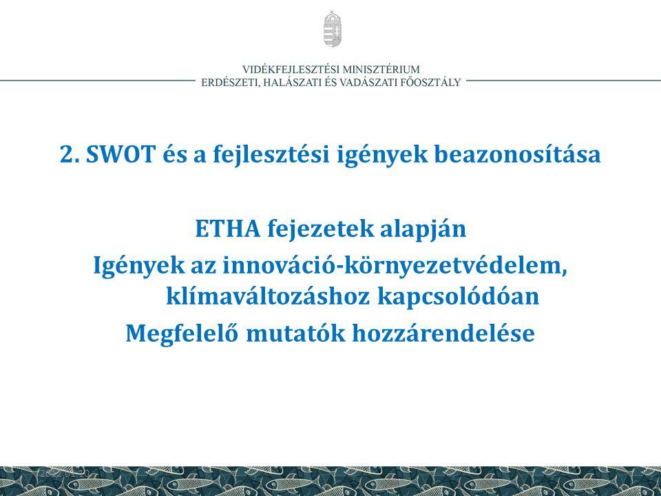 2. SWOT és a fejlesztési igények beazonosítása ETHA fejezetek alapján