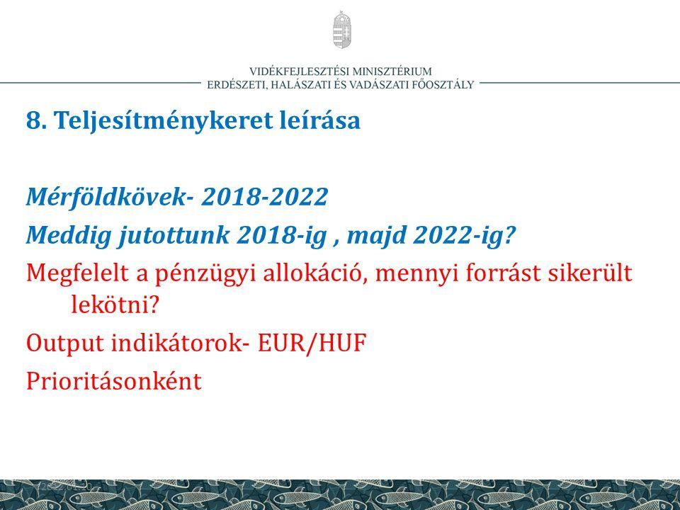 8. Teljesítménykeret leírása Mérföldkövek- 2018-2022