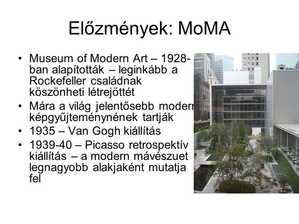 Előzmények: MoMA Museum of Modern Art – 1928-ban alapították – leginkább a Rockefeller családnak köszönheti létrejöttét.