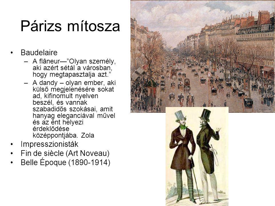 Párizs mítosza Baudelaire Impresszionisták Fin de siècle (Art Noveau)