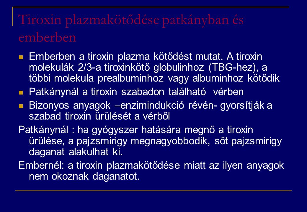 Tiroxin plazmakötődése patkányban és emberben