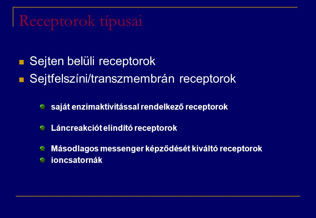Receptorok típusai Sejten belüli receptorok