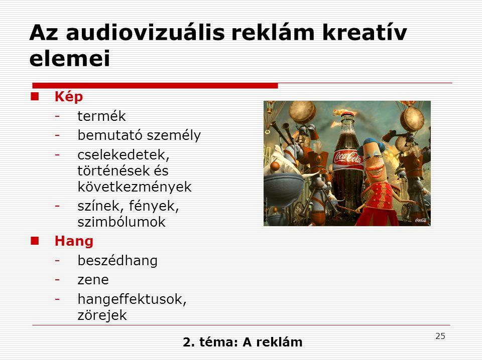 Az audiovizuális reklám kreatív elemei