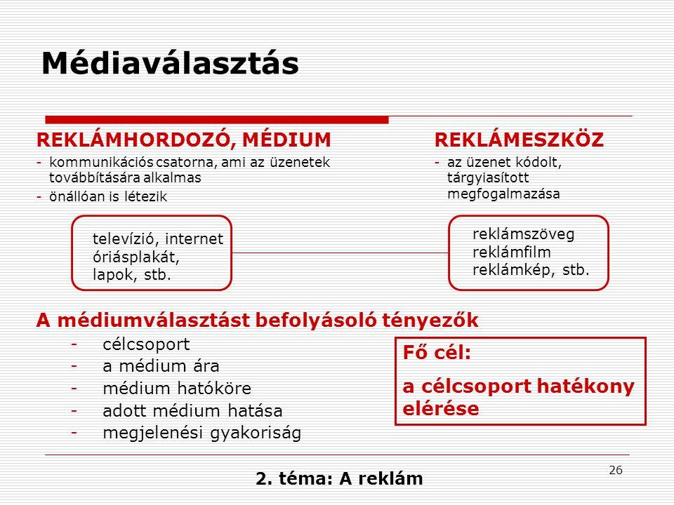 Médiaválasztás REKLÁMHORDOZÓ, MÉDIUM REKLÁMESZKÖZ