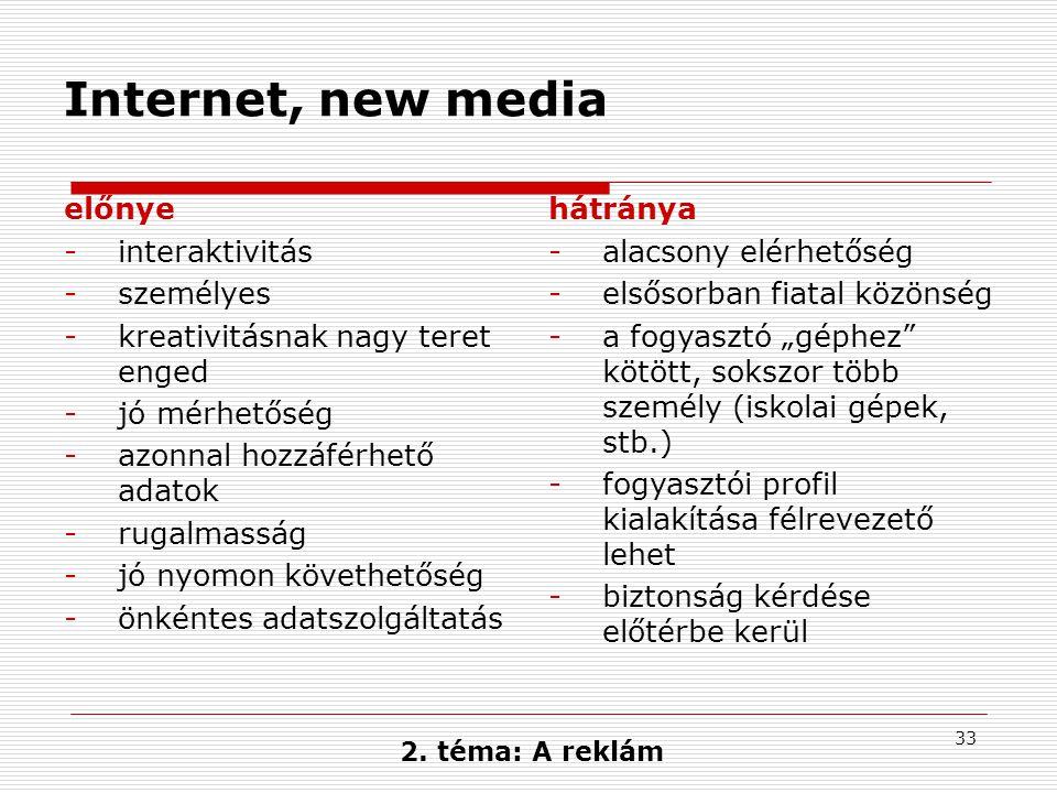 Internet, new media előnye interaktivitás személyes