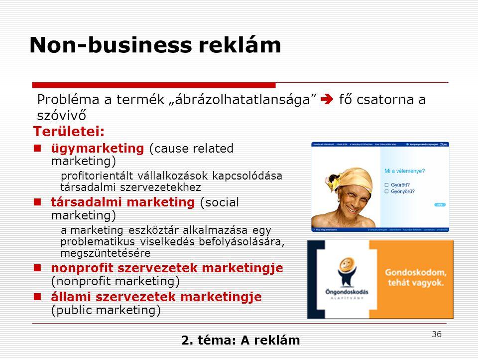 """Non-business reklám Probléma a termék """"ábrázolhatatlansága  fő csatorna a szóvivő. Területei: ügymarketing (cause related marketing)"""