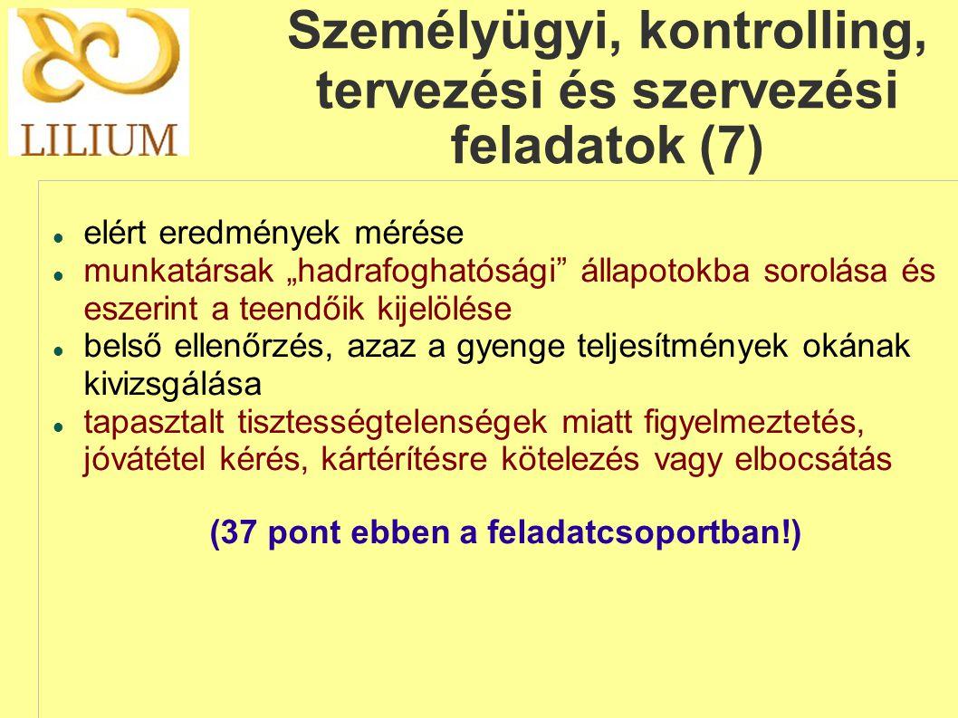 Személyügyi, kontrolling, tervezési és szervezési feladatok (7)