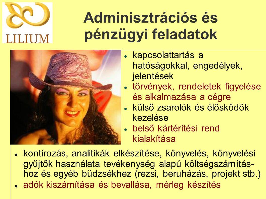 Adminisztrációs és pénzügyi feladatok