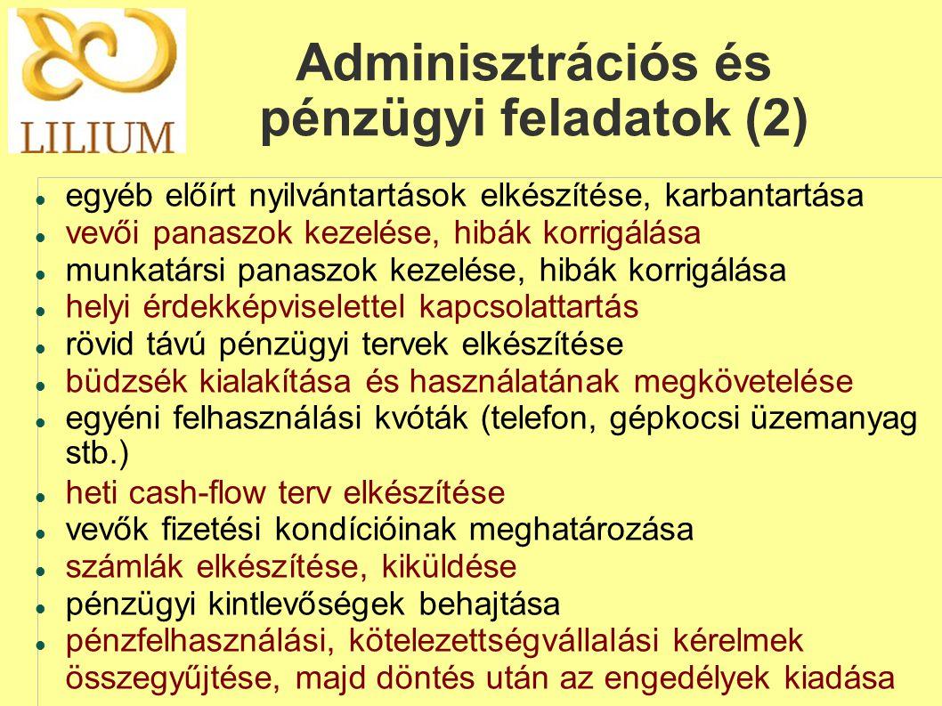 Adminisztrációs és pénzügyi feladatok (2)