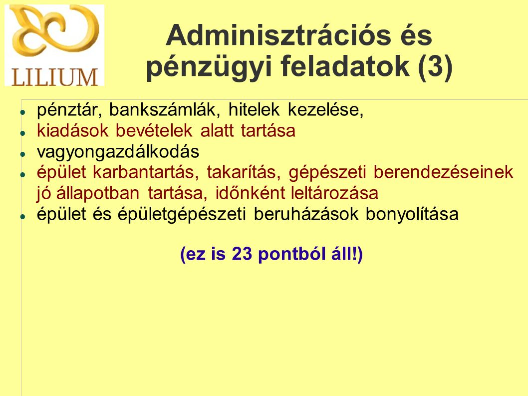 Adminisztrációs és pénzügyi feladatok (3)