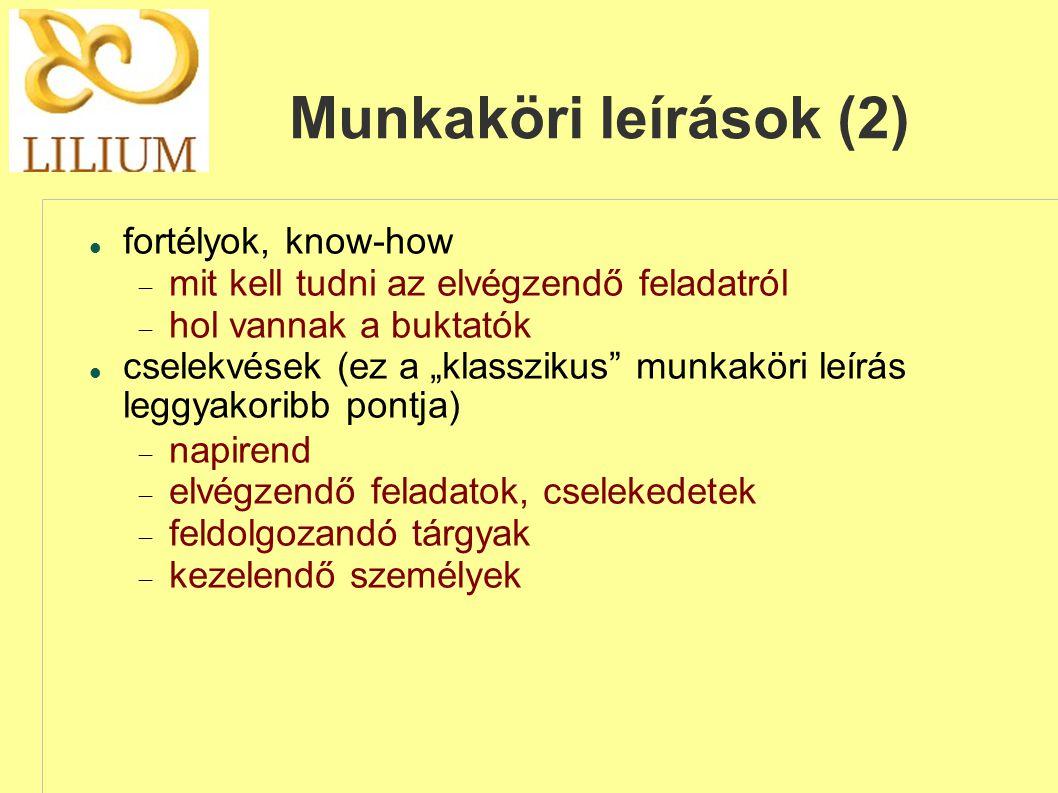 Munkaköri leírások (2)
