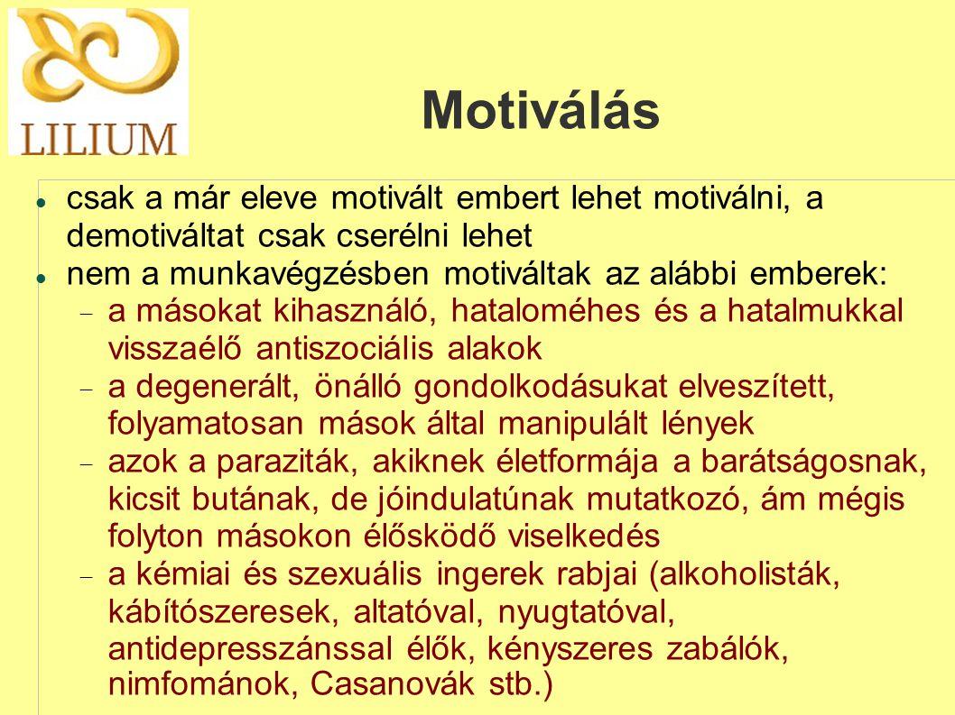 Motiválás csak a már eleve motivált embert lehet motiválni, a demotiváltat csak cserélni lehet. nem a munkavégzésben motiváltak az alábbi emberek: