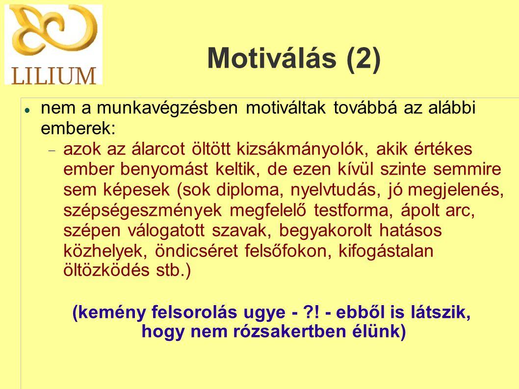 Motiválás (2) nem a munkavégzésben motiváltak továbbá az alábbi emberek: