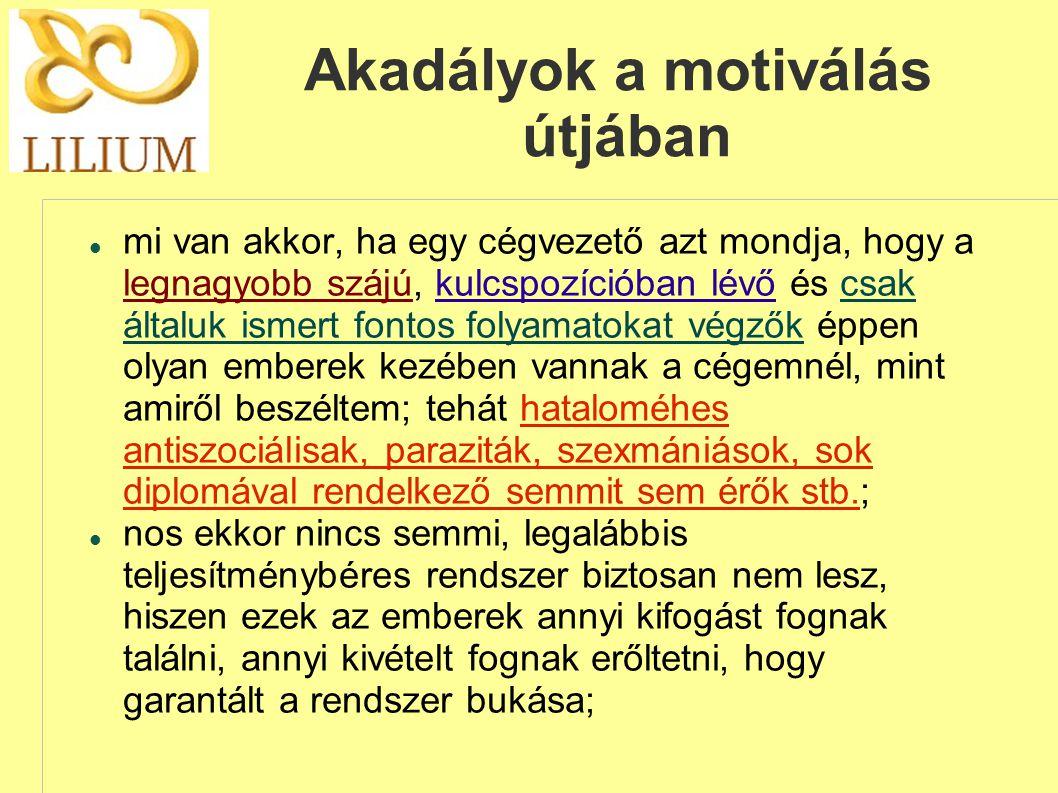 Akadályok a motiválás útjában
