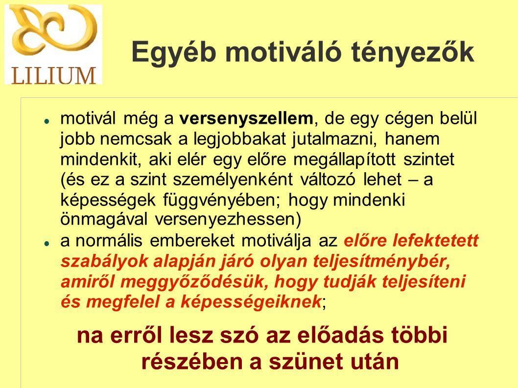 Egyéb motiváló tényezők