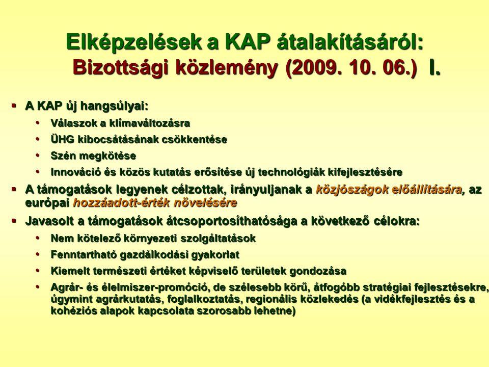 Elképzelések a KAP átalakításáról: Bizottsági közlemény (2009. 10. 06