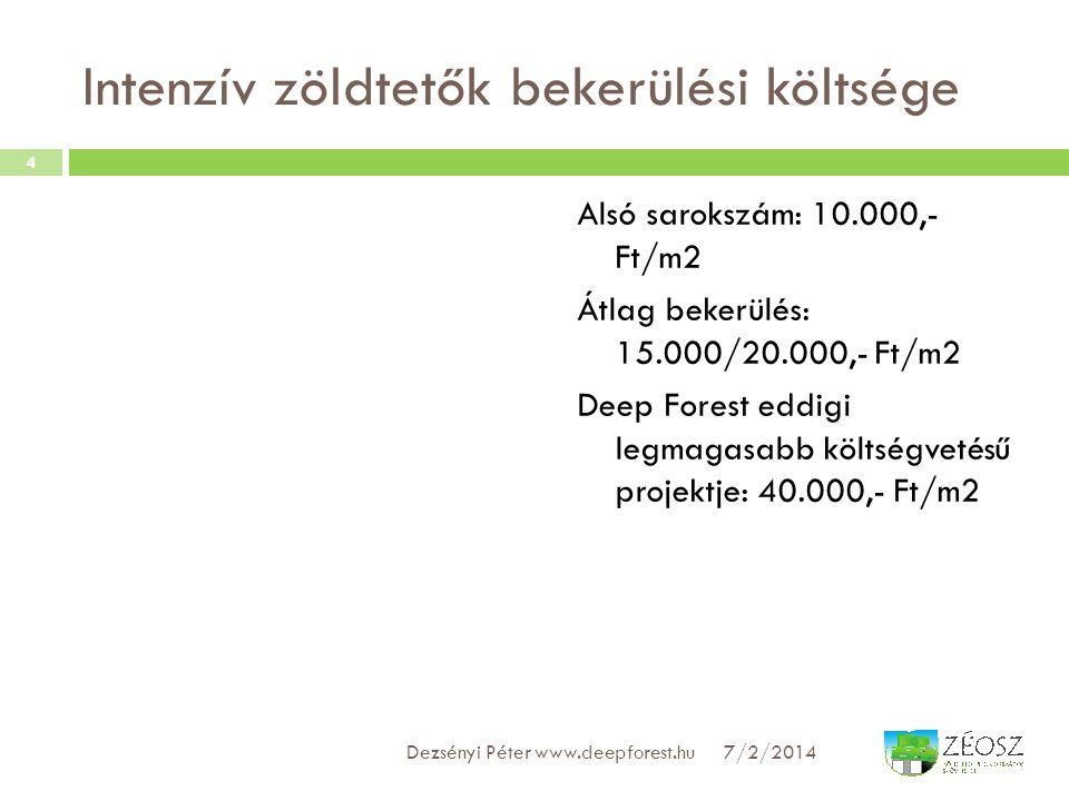 Intenzív zöldtetők bekerülési költsége