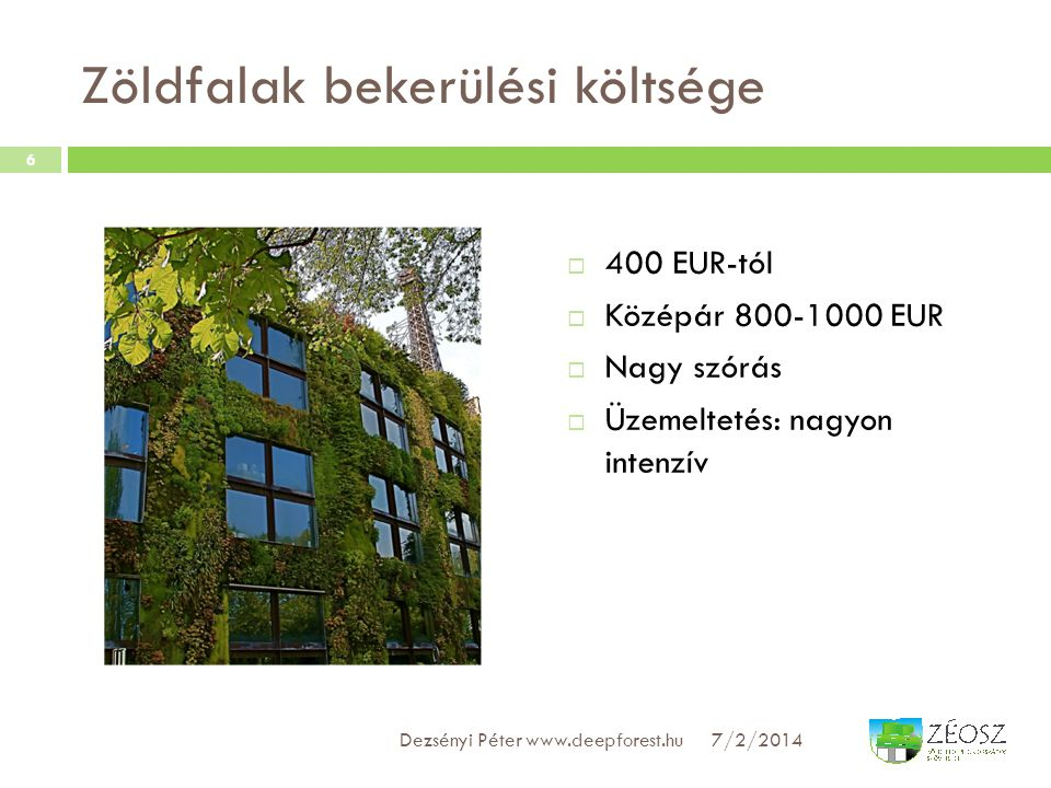 Zöldfalak bekerülési költsége