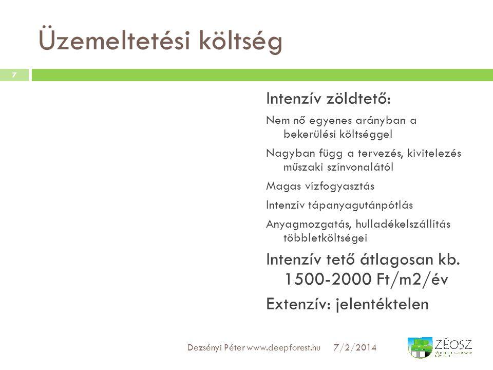 Üzemeltetési költség Intenzív zöldtető: