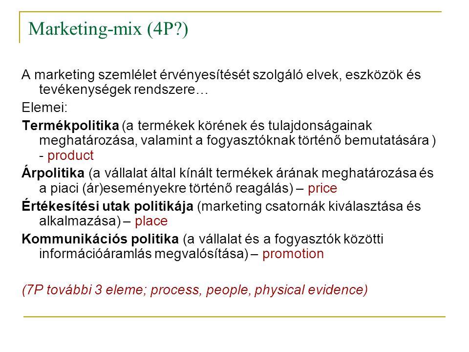 Marketing-mix (4P ) A marketing szemlélet érvényesítését szolgáló elvek, eszközök és tevékenységek rendszere…