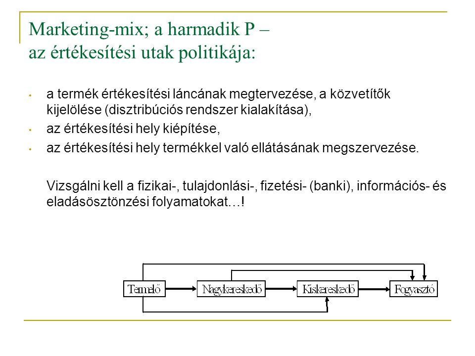Marketing-mix; a harmadik P – az értékesítési utak politikája: