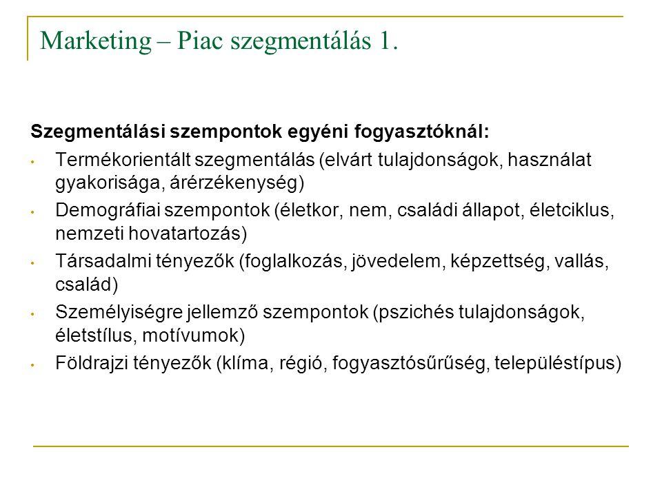 Marketing – Piac szegmentálás 1.