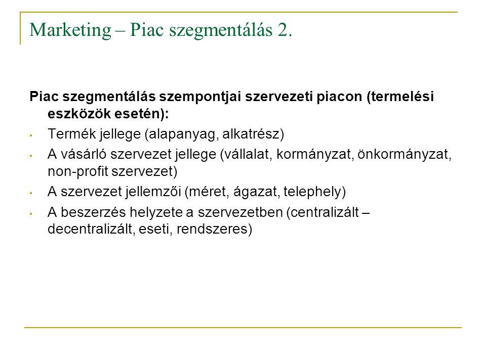 Marketing – Piac szegmentálás 2.