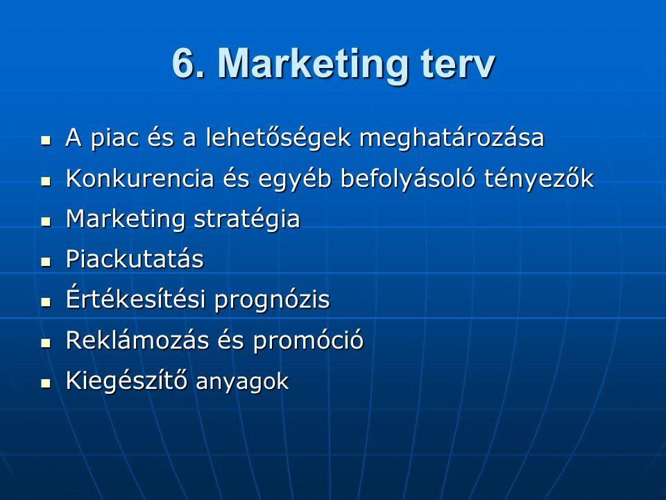 6. Marketing terv A piac és a lehetőségek meghatározása